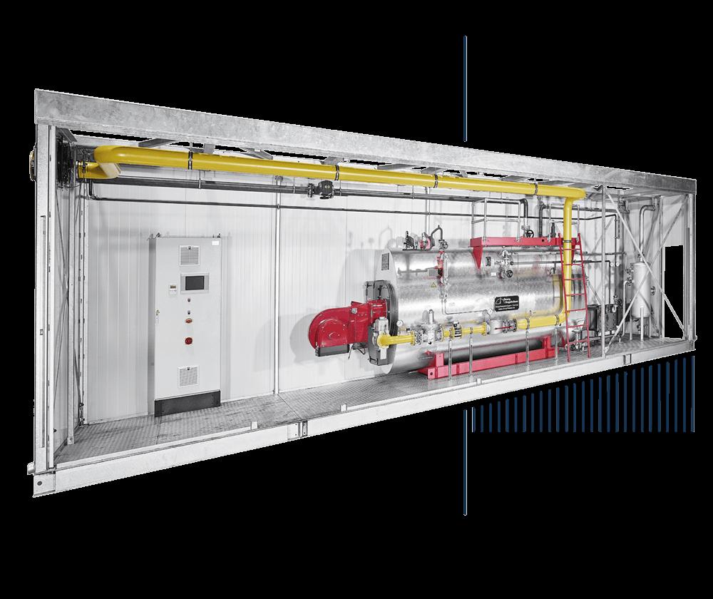 Heißwasserkessel Mietkessel Anlagen im Container